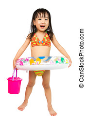 Asian Little Chinese Girl Playing with Swimming Ring