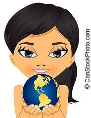 asian little girl holding earth globe