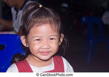 asian Little Girl Smiling, children smile close up