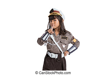 asian little girl wearing police uniform with finger pointing of movement warns