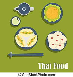 Asian lunch of thai cuisine - Thai cuisine flat icons of...