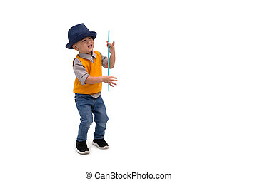 Asian magician boy wearing hat isolated on white background