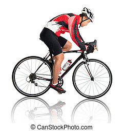 Asian male cyclist riding road bicycle, side view isolated...