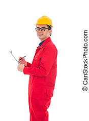 asian male engineer doing report  in white background