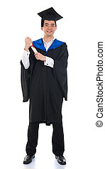 asian male graduate full length isolated with white background