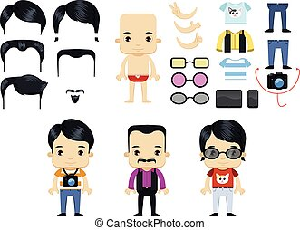Asian Male Hipster Avatar set