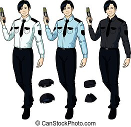 Asian male police officer holds taser - Asian male in police...