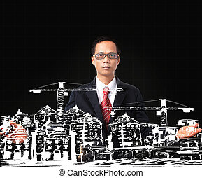asian man and drawing of modern building construction