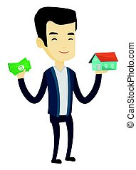 Asian man buying house thanks to loan.