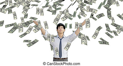 Asian Man Catching Money Falling From the Sky