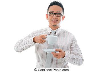 asian man coffee