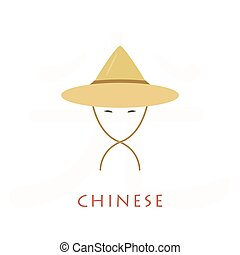 Asian man conical, straw hat. Chinese hat with strings....