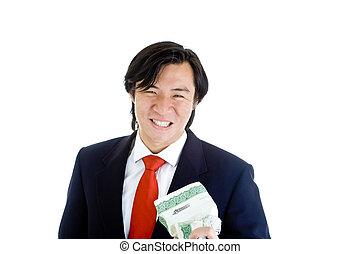 Asian Man Grimacing while Crushing Stock Certificate White