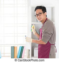 Asian man housekeeping