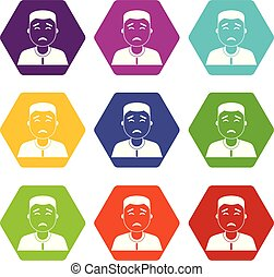 Asian man icon set color hexahedron