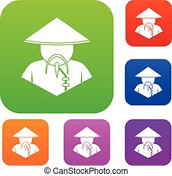 Asian man in conical hat set color collection