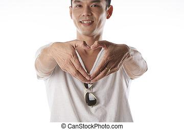 Asian man in love