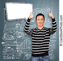 Asian Man In Striped with Speech Bubble - Asian man in ...