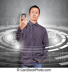 Asian Man Making An Avatar