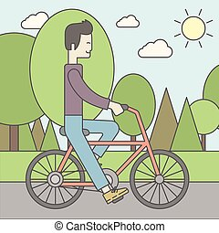 Asian man riding bicycle in park.
