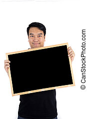 Asian man show with black woodenboard