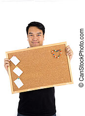 Asian man show with woodenboard