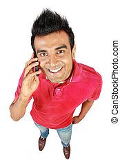 Asian man smiling using a mobile phone