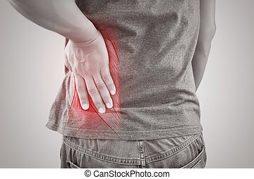 Asian man suffering from muscle waist pain injury, People...