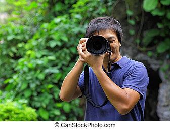 Asian man taking photo