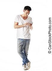 Asian man using mobile phone