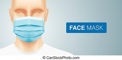 Asian man wearing a blue surgical face mask.