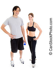 Asian Man White Woman Standing Work-Out Isolated