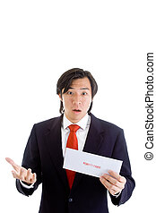 Asian man with a shocked expression holding an envelope. Isolated on white background.