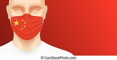 Asian man with china flag face mask.