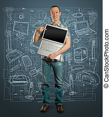 man with open laptop in his hands