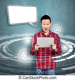 Asian Man With Touch Pad - Asian man with speech bubble and...