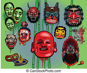 Asian masks isolated on light background