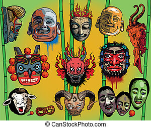 Asian masks isolated on light background