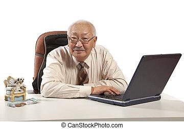 Asian mature men businessman - mature businessman at table...