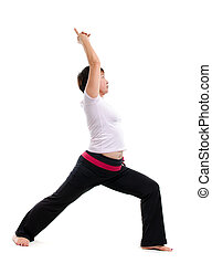 Asian mature woman doing yoga, isolated on white background.
