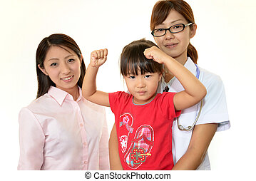 Asian medical doctor with patients