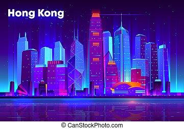 Asian metropolis nightlife cartoon vector banner