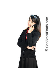 Asian middle business woman 30 years old use mobile phone