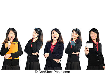 Asian middle business woman profile in action.