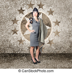 Asian military pinup girl in retro air force style