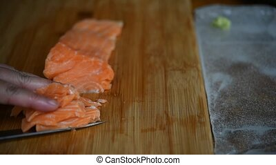 Asian mistake chef japanese food sashimi salmon - Asian...