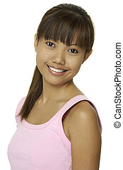 A pretty young asian woman with a great smile