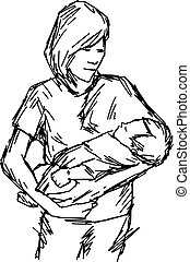 asian mother and baby vector illustration sketch hand drawn with black lines, isolated on white background