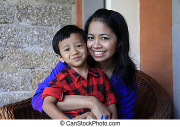 asian mother and son - Young happy asian mother and her son