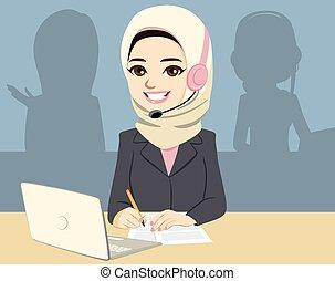 Asian Muslim Call Center Woman
